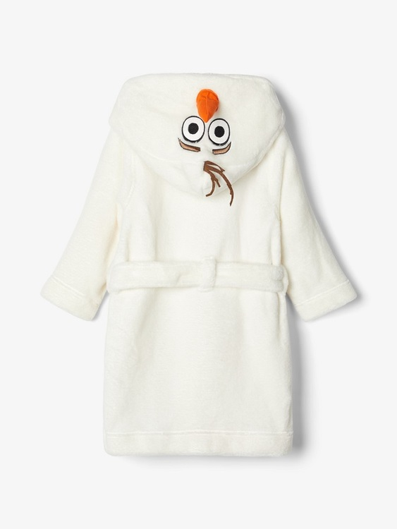 Årets sötaste och mjukaste morgonrock kommer från Name it och har en söt applikation av Olof från Disneyfilmen Frost på luvan. Morgonrocken knäpps lätt med tryckknappar fram och sen finns ett bälte so