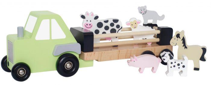 Tuff traktor från Jabadabado med olika djur & avtagbart släp så du kan köra traktorn för sig. Barnen sätter lätt i eller plockar ur de olika djuren i traktorn. I taktorn finns det 6 olika djur (1 häst