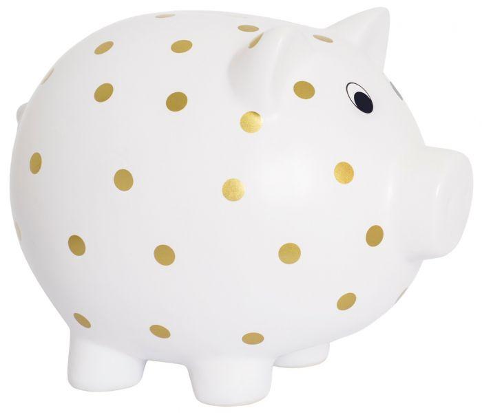 Söt sparbössa i keramik från Jabadabado formad till en gris med guldprickar på. Mått: 27 x 18 x 22 cm. Perfekt som dop eller namngivningspresent då den kommer i en fin förpackning.   Färg: Vit