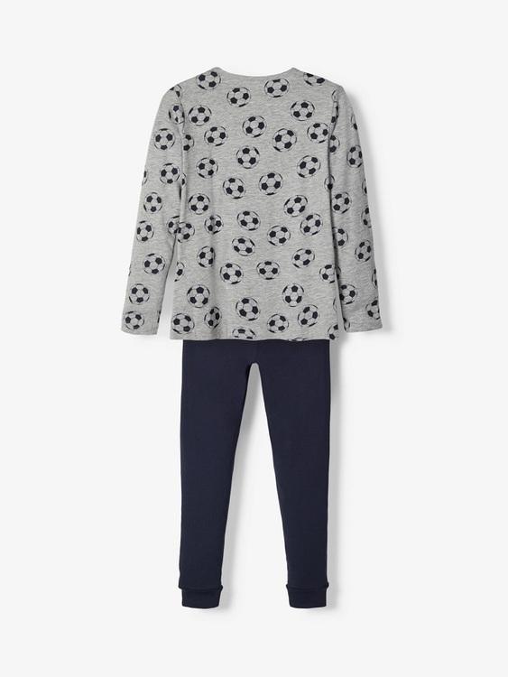 Mjuk och skön 2-delad pyjamas i ekologisk bomull från Name it med resår i midjan på byxorna. Material: 95%  Ekologisk Bomull och 5% Elastan  Färg: Marinblå