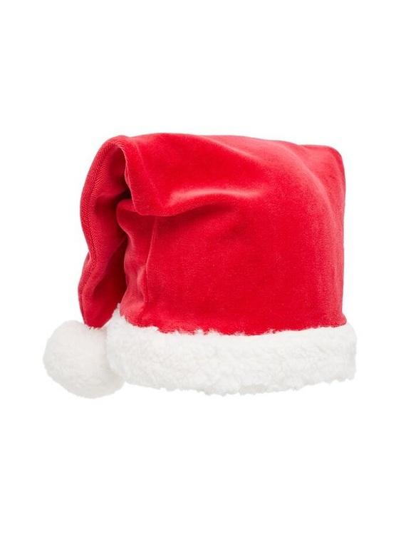 Söt tomteluva i velour från Name it med en mjuk lurvig fåll. . Material: 75% Bomull & 25% Polyester  Färg: Röd