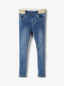 Name it Mini Mjuka Jeansleggings Med Guldglittrig Resår
