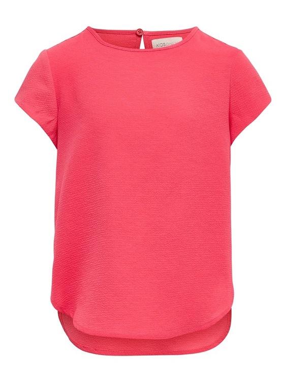 Enkel men fin kortärmad blus från KIDS ONLY med rund hals och knappknäppning bak. Snygg till ett par jeans eller en jeanskjol. Material: 100% Viskos  Färg: Korall