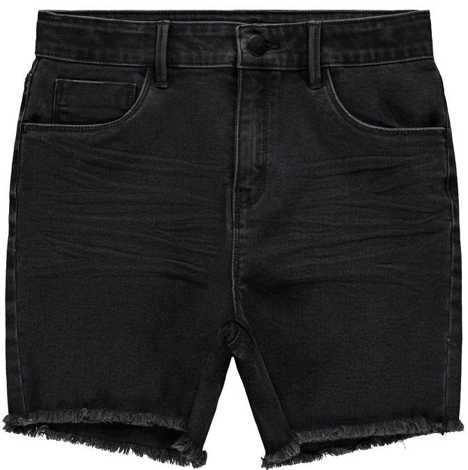 Trendiga jeansshorts i svart denim från LMTD med hög midja som är justerbar, fram och bakfickor samt fransad fåll i bensluten. Material: 71% Bomull, 24% Polyester, 3% Viskos och 2% Elastan  Färg: Svar