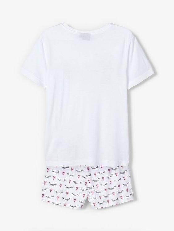 """Mjuk 2-delad pyjamas i """"loose fit"""" från LMTD med en kortärmad T-shirt med ett tryck mitt på och ett par shorts med ett heltäckande tryck på. Material: 80% LENZING™ ECOVERO™ Viscose, och 20% Polyester"""