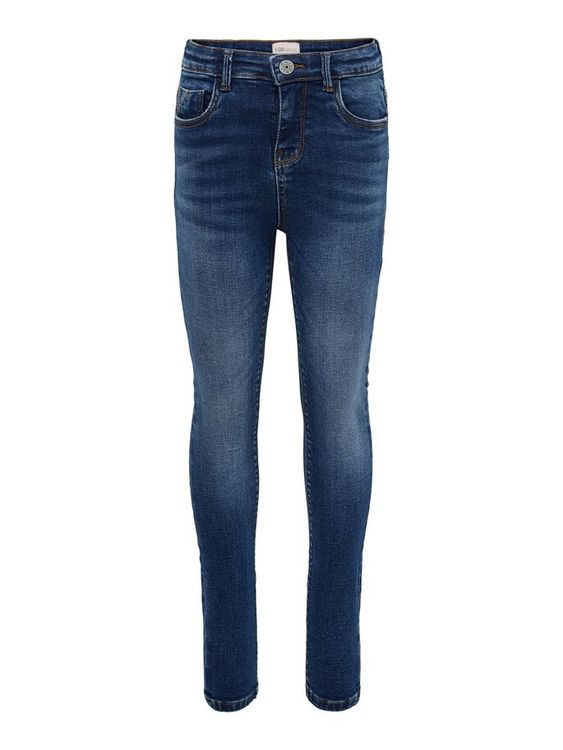 Smala stretchiga jeans med hög midja från KIDS ONLY och justerbar midja, bälteshällor samt fickor fram och bak. Material: 98% Bomull och 2% Elastan  Färg: Mellanblå Denim