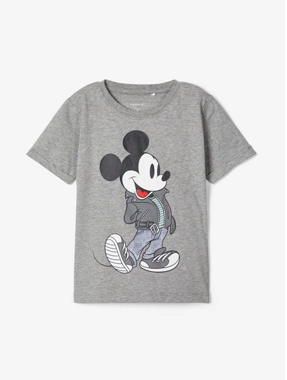 Cool T-shirt från Name it med rund hals och ett stort tryck av Musse Pigg fram. Material: 95% Bomull och 5% Elastan  Färg: Grå Melange