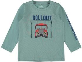 Name it Mini Transformers Långärmad T-shirt i Ekologisk Bomull Gröngrå