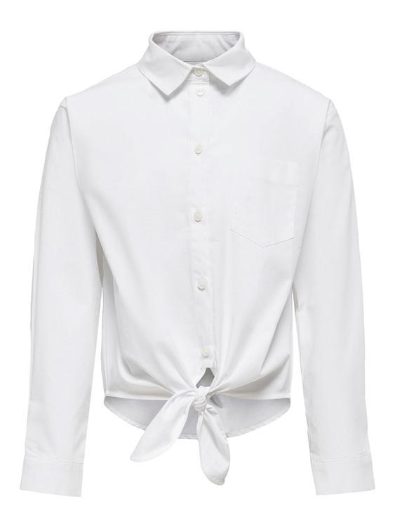 Trendig stretchig blus från KIDS ONLY med knappknäppning fram, bröstficka och knyt i midjan. Så himla snygg till ett par jeans med hög midja. Material: 97% Bomull och 3% Elastan  Färg: Vit