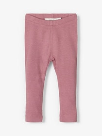 Name it Baby Ribbade Leggings i Ekologisk Bomull Gammelrosa