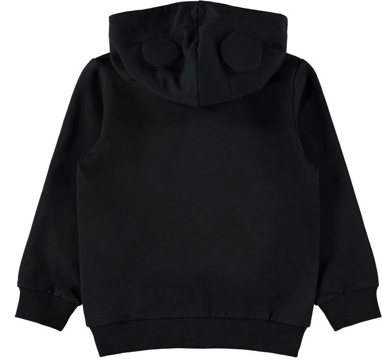 Så in i bombens cool hoodie från Name it med ett stort tryck av Musse Pigg fram och som om det inte var nog så har den två små öron på luvan. Muddar finns i ärmsluten och midjan samt att insidan är mj