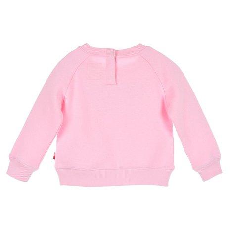 Söt sweatshirt från Levi´s med rund hals, Levi´s loggan på bröstet och mjuk borstad insida samt tryckknappar bak för lättare på och avklädnad (gäller storlekarna 74-86) Material: 60% Bomull och 40% Po