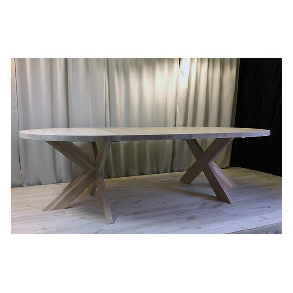 Runt bord med dubbla iläggsskivor