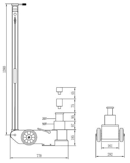 LUFTHYDRAULISK DOMKRAFT S25-2J