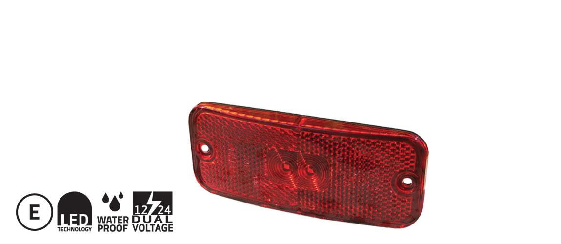 Positionsljus LED Röd 12/24V m vinkelfäste 0,5m