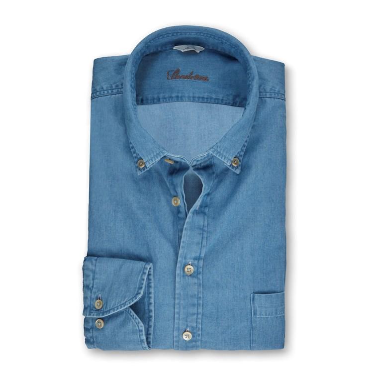 STENSTRÖMS - Slimline Denim Pop-Over Shirt Blå
