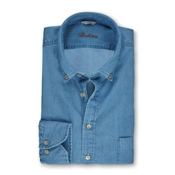 STENSTRÖMS - Slimline Denim Pop-Over Shirt Blå