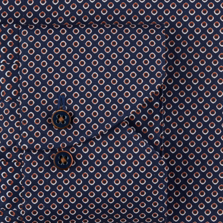 STENSTRÖMS - Navy Dotted Slimline Shirt Blå