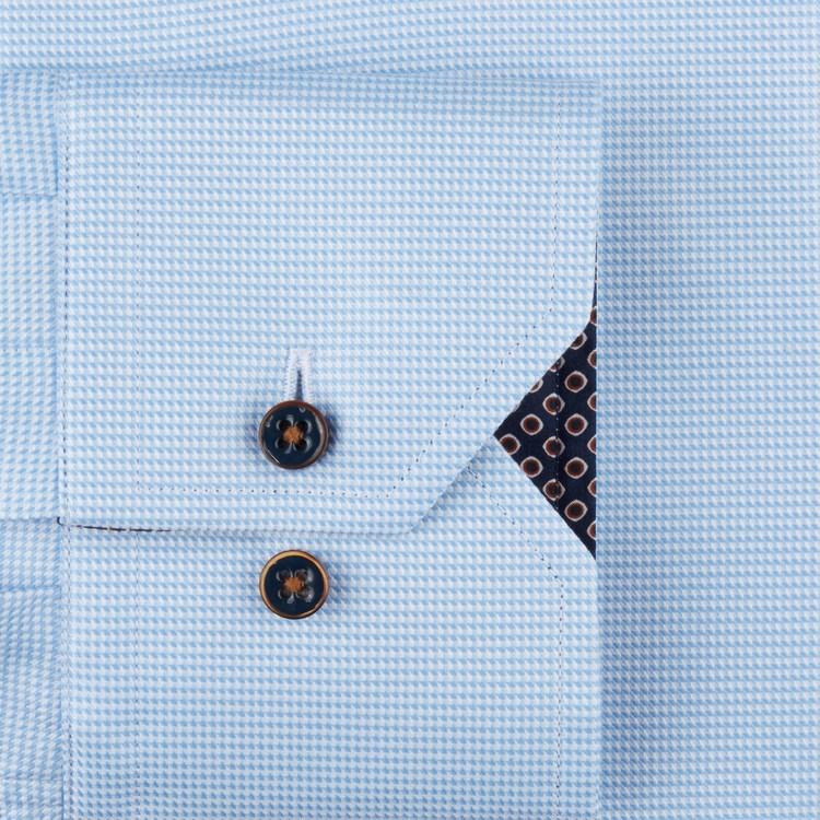 STENSTRÖMS - Slimline Hounds Tooth Shirt With Contrast Details Blå