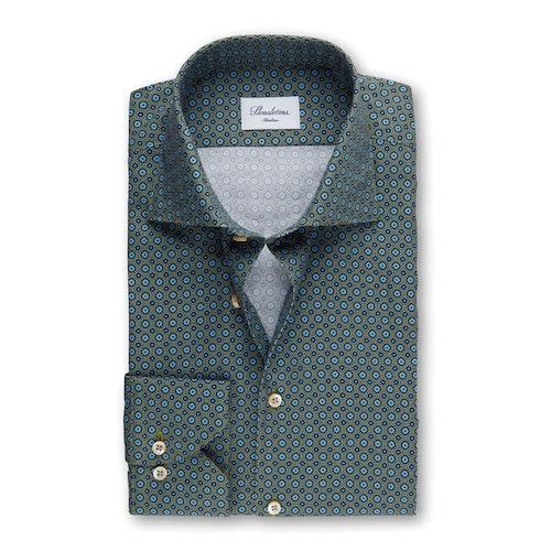 STENSTRÖMS - Slimline Graphic Flower Patterned Shirt Grön