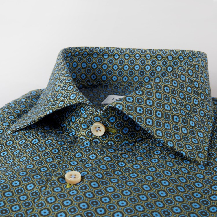 STENSTRÖMS - Slimline Graphic Flower Patterned Shirt Grön
