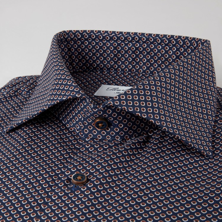 STENSTRÖMS - Navy Dotted Fitted Body Shirt Blå
