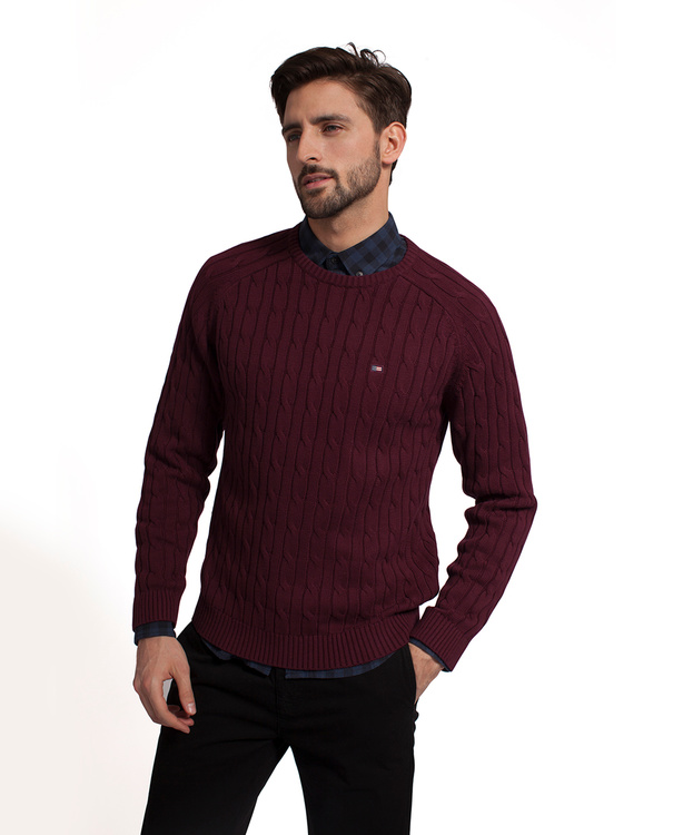 LEXINGTON - Andrew Cotton Cable Sweater Röd