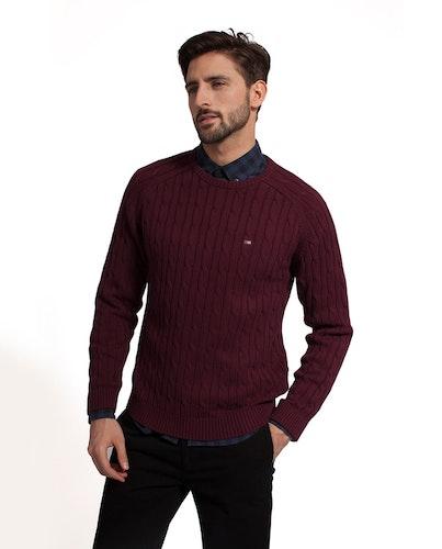 LEXINGTON - Andrew Cotton Cable Sweater Röd