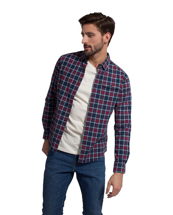 LEXINGTON - Aaron Checked Shirt Blå