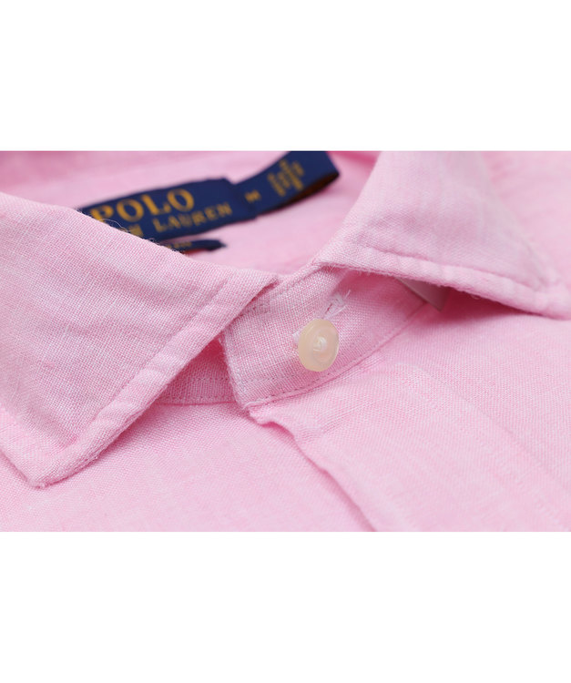 POLO RALPH LAUREN - Slim Fit Long Sleeve Sport Shirt Linen Rosa
