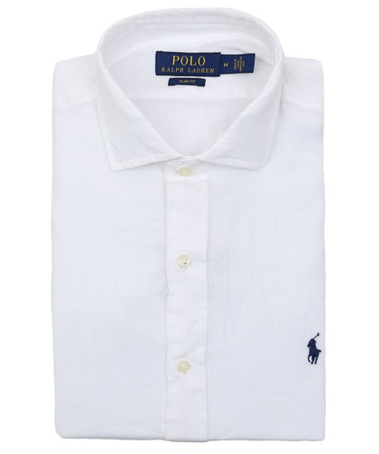 POLO RALPH LAUREN - Slim Fit Long Sleeve Sport Shirt Linen Vit
