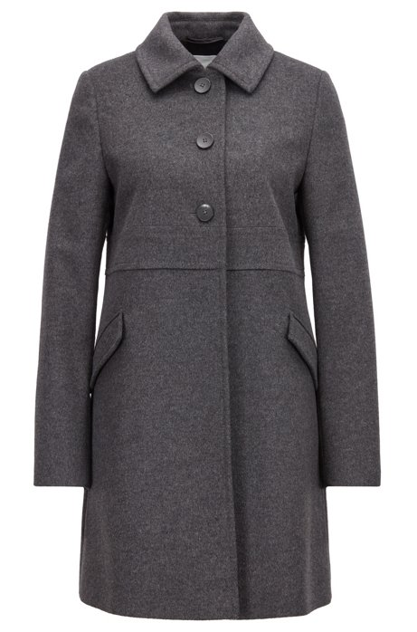 HUGO BOSS - Ohjules Virgin Wool Cashmere Coat Grå