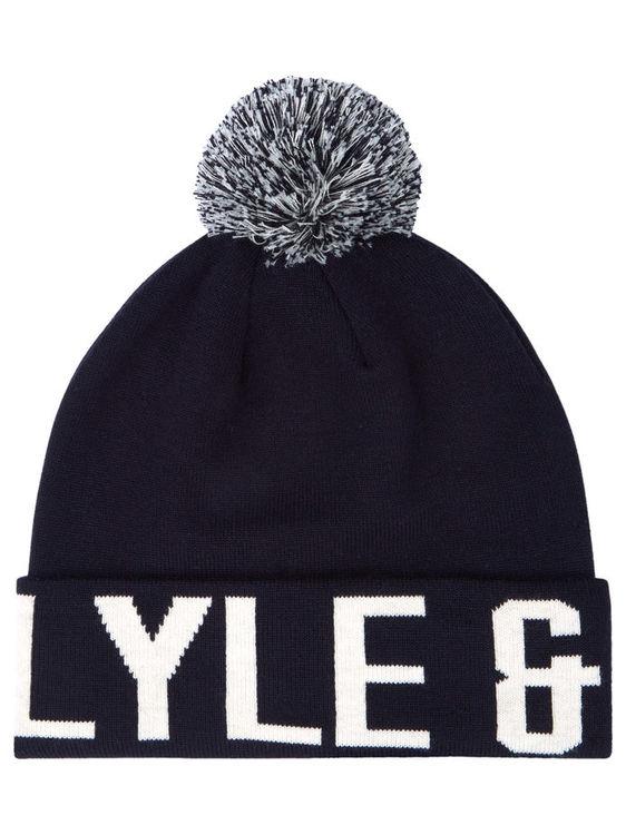 LYLE & SCOTT - Knit Wording Logo Hat Blå
