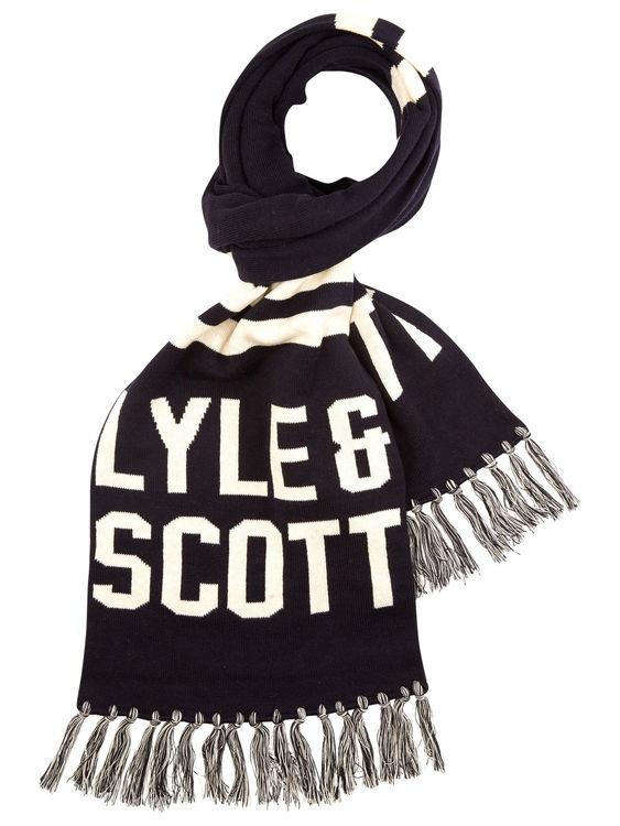 LYLE & SCOTT - Knit Wording Scarf Blå