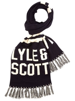 LYLE & SCOTT - Knit Wording Scarf Blå