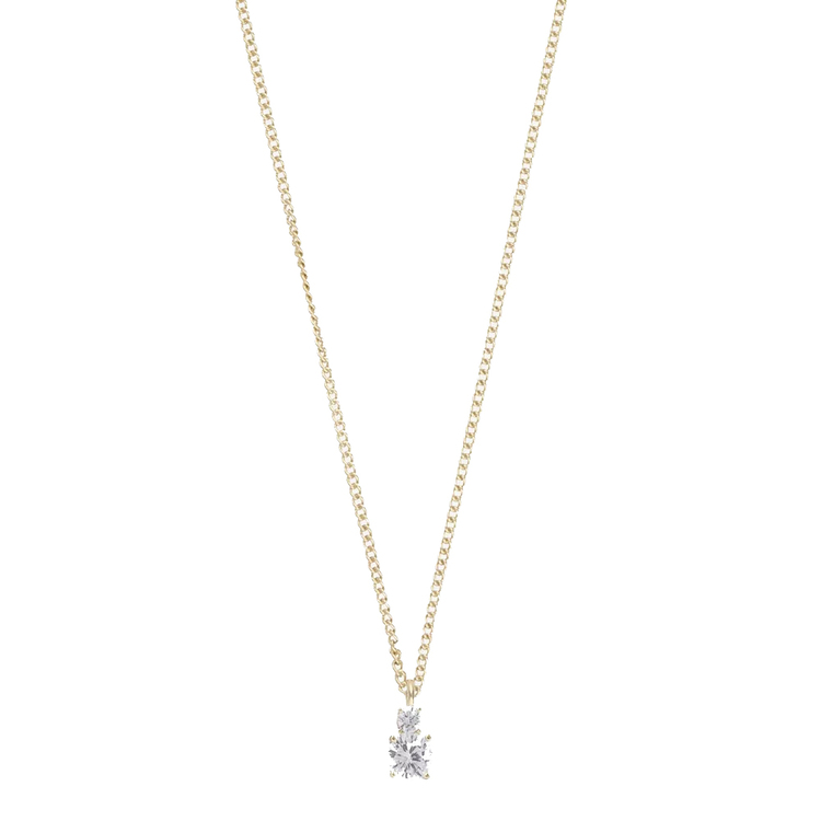 SNÖ OF SWEDEN - Duo Small Pendant Necklace Guld/Clear