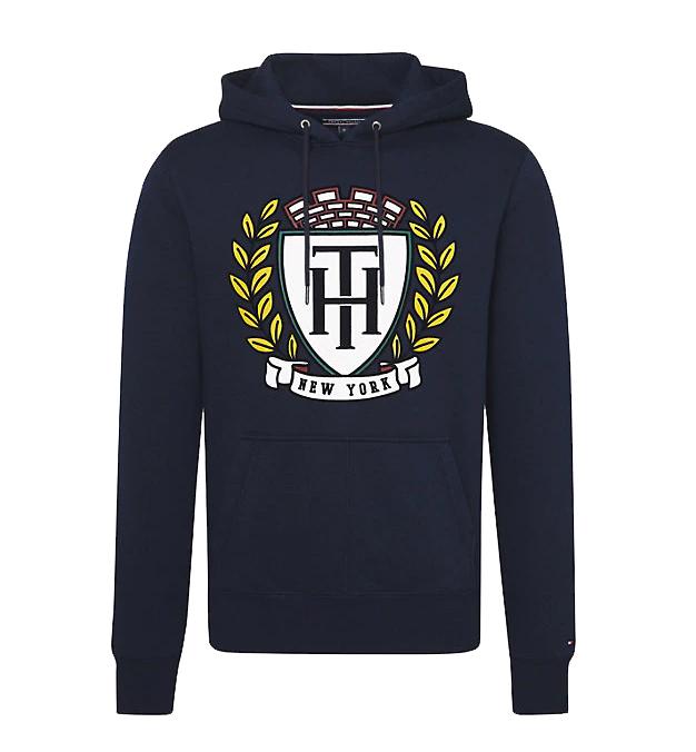 TOMMY HILFIGER - Logo Crest Hoodie Blå