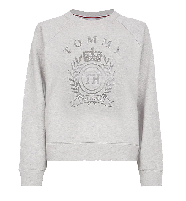 TOMMY HILFIGER - Mora Crewneck Sparkle Crest Sweatshirt Grå