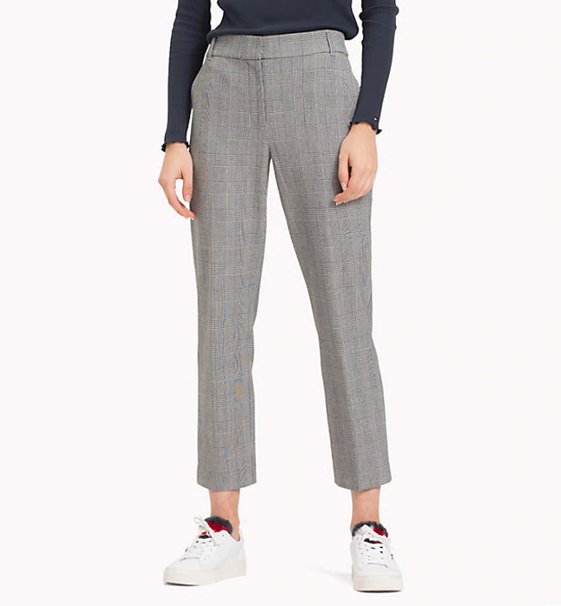 TOMMY HILFIGER - Jaime Check Wool Ankle Trousers Grå Rutor