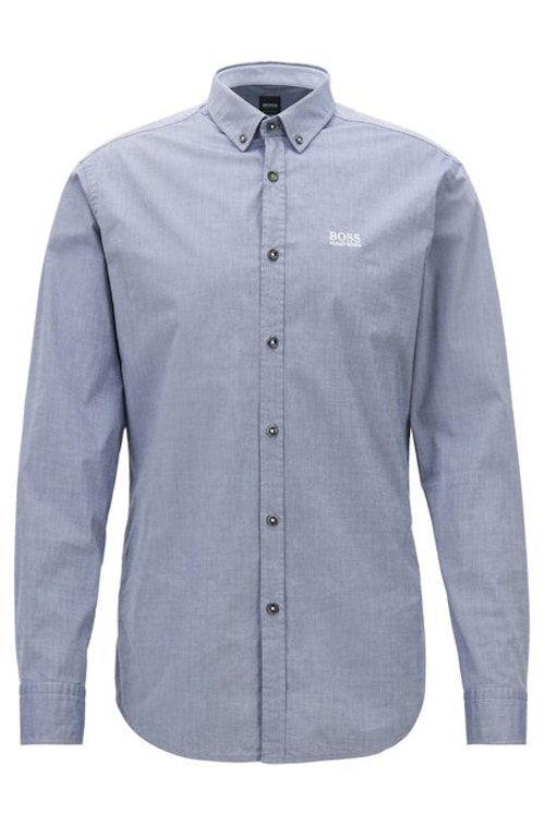 HUGO BOSS - Biado Regular Fit Stretch Shirt Blå