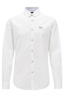 HUGO BOSS - Biado Regular Fit Stretch Shirt Vit