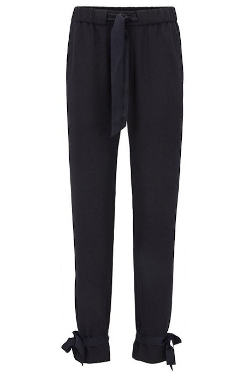 HUGO BOSS - Satapy Regular Fit Crepe Trousers Blå