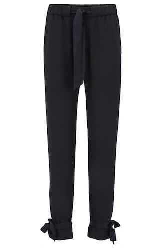 HUGO BOSS - Satapy Regular Fit Crepe Trousers Blå