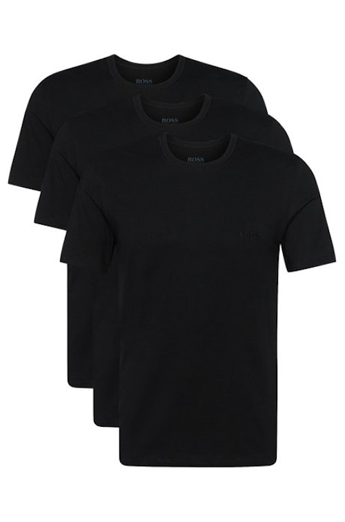 HUGO BOSS - T-shirt Regular Fit Round Neck 3P Svart