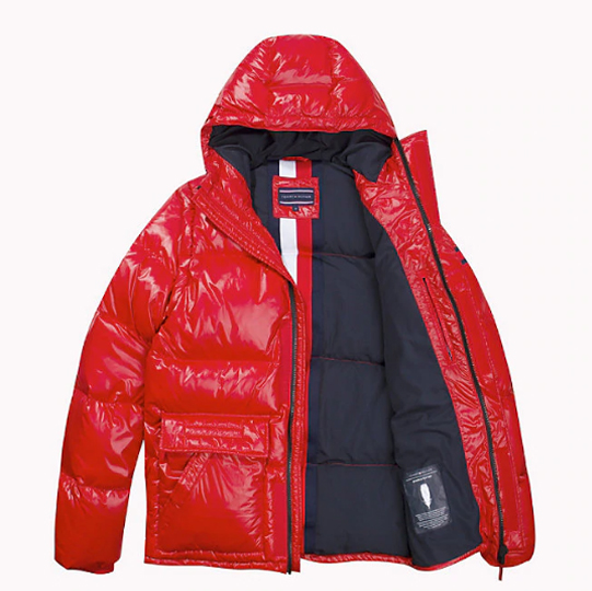 TOMMY HILFIGER - Down Hooded Jacket Röd