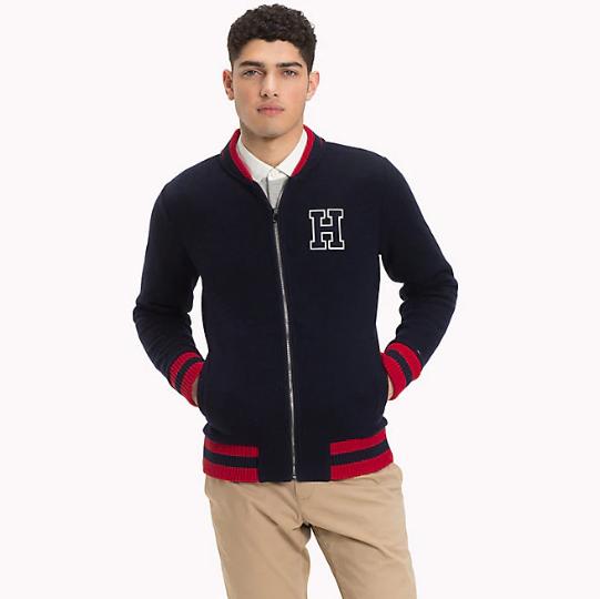 TOMMY HILFIGER - Fleece Baseball Zip Jacket Blå