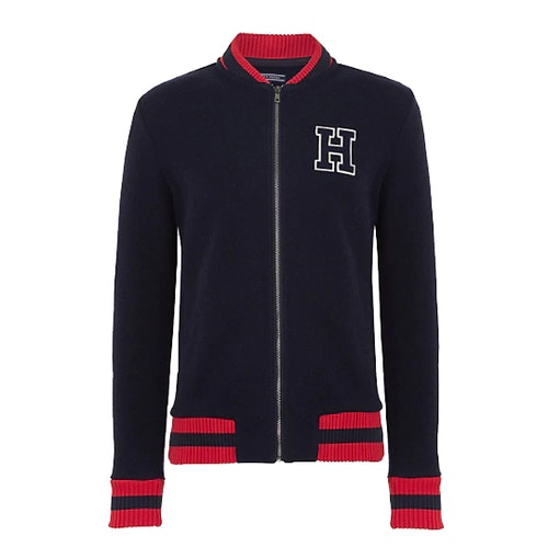 TOMMY HILFIGER - Fleece Baseball Zip Jacket Blå