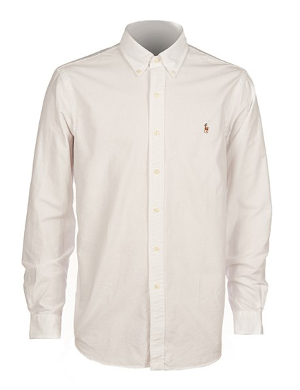 POLO RALPH LAUREN - Slim Fit Long Sleeve Sport Shirt Vit