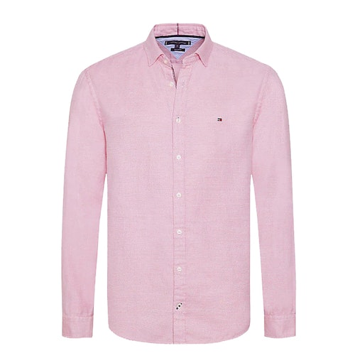 TOMMY HILFIGER - Twisted Yarn Dobby Shirt Regular Fit Röd