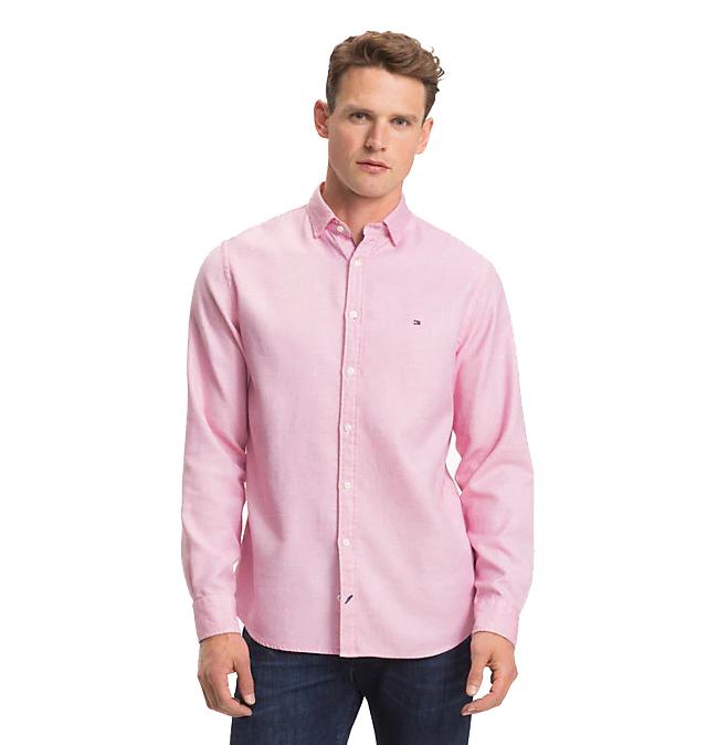 TOMMY HILFIGER - Twisted Yarn Dobby Shirt Regular Fit Röd